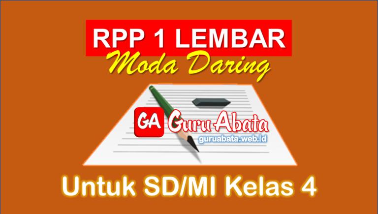 RPP 1 Lembar Daring Kelas 4 SD/MI Semester 1 Dan 2 Revisi Terbaru