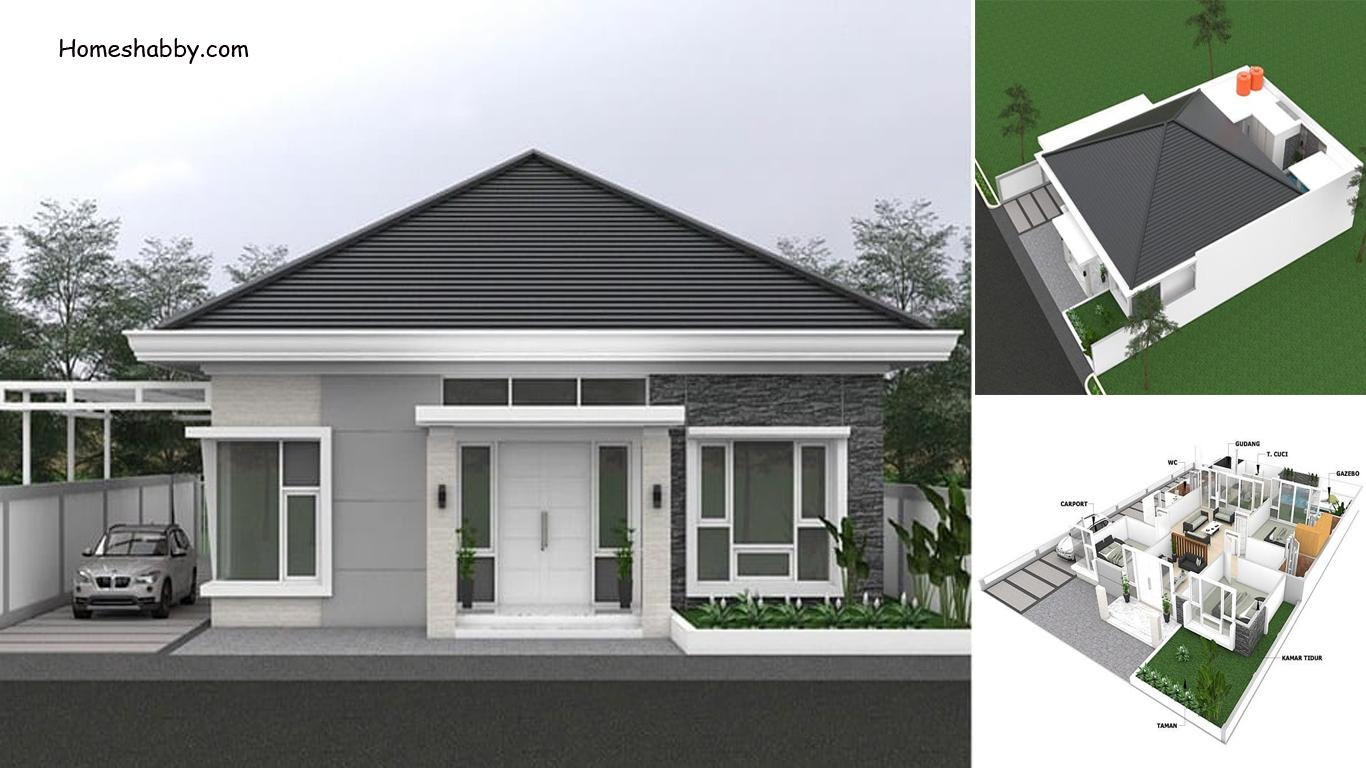Desain Dan Denah Rumah Ukuran 15 X 20 M Dengan Atap Perisai Ada Gazebo Di Belakang Cocok Untuk Lahan Besar Di Desa Homeshabby Com Design Home Plans Home Decorating And Interior Design