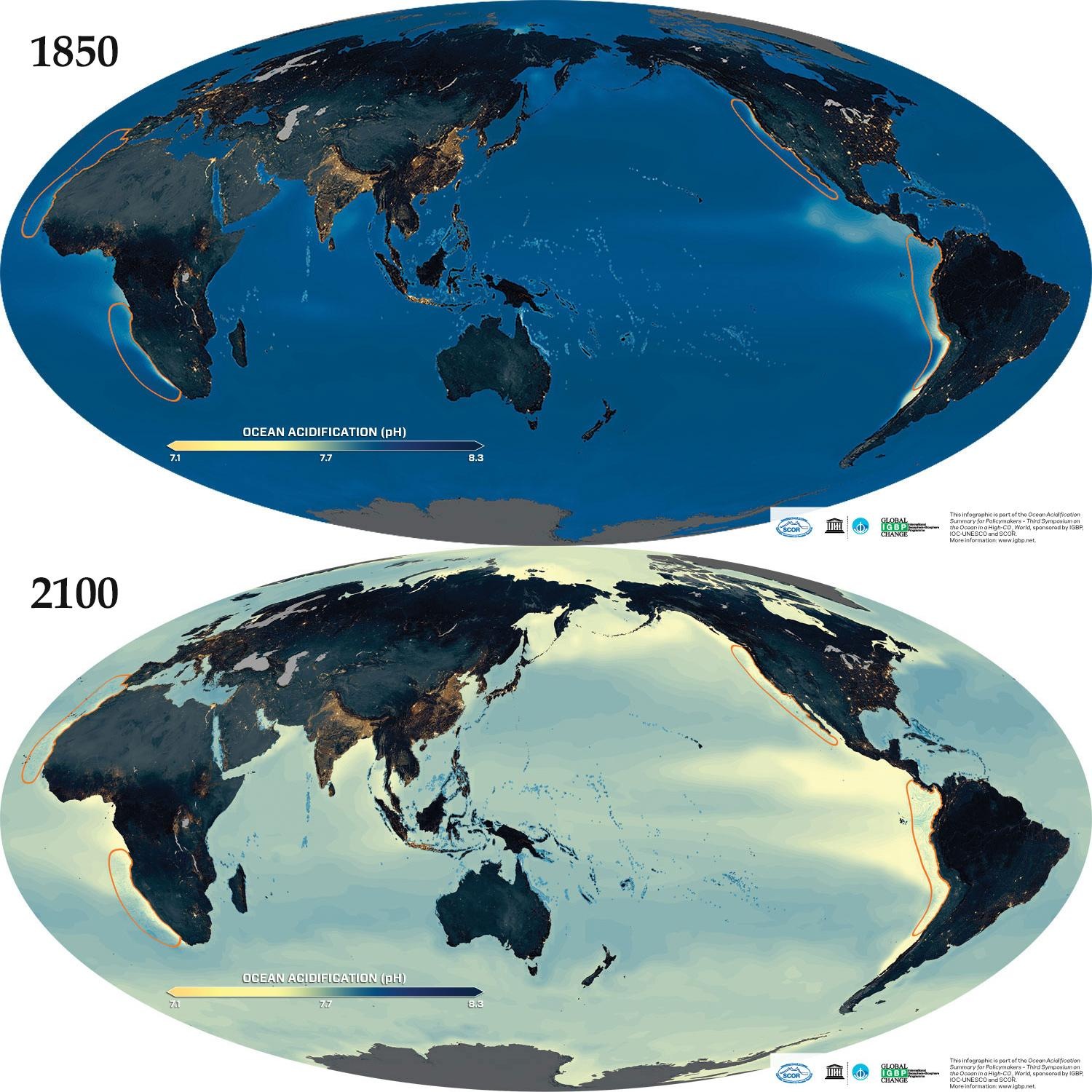 Average pH of surface waters in 1850 and 2100
