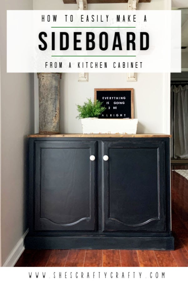 How to easily make a Dining Room Sideboard from a kitchen cabinet  |  DIY instructions for turning an upper cabinet into a functional piece of furniture in your dining room  |   She's Crafty