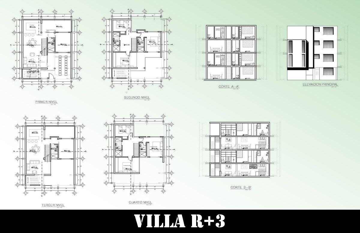 Cliquez ici pour télécharger le fichier autocad de cette villa à quatre niveaux voir photo