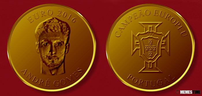 Meme com Medalha Comemorativa da Conquista do Euro 2016 pela Seleção Nacional de Portugal – André Gomes