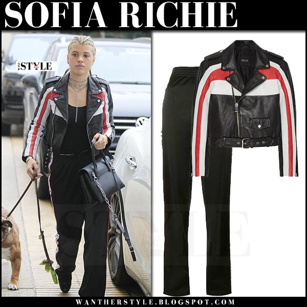 Sofia Richie in black stripe leather maje beril jacket and black track givenchy logo pants walking her dog what she wore
