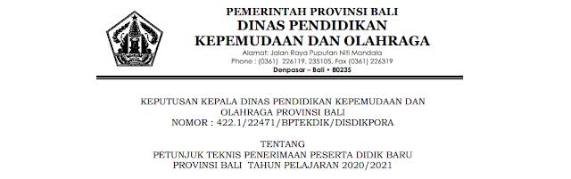 Jadwal Pendaftaran Zonasi dan Juknis PPDB SMA SMK Se Provinsi Bali Tahun Pelajaran 2020/2021