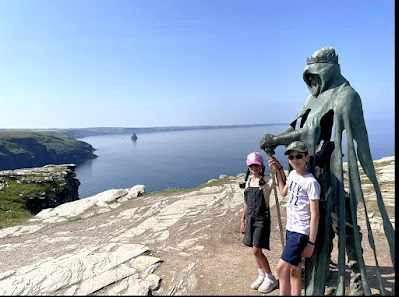 Statue at Tintagel Castle, Cornwall, family day out