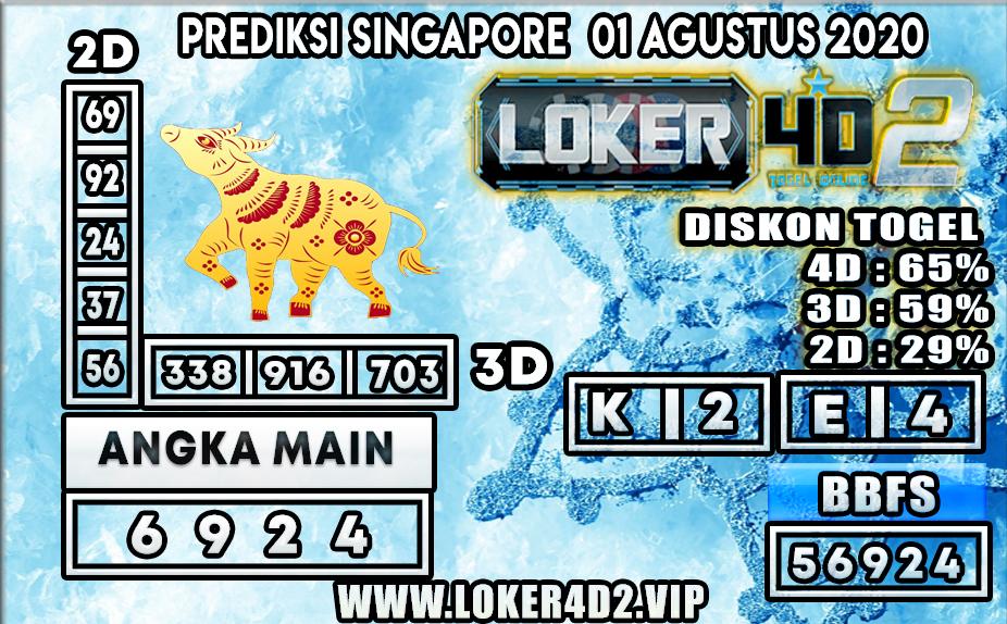 PREDIKSI TOGEL LOKER4D2 SINGAPORE 01 AGUSTUS  2020