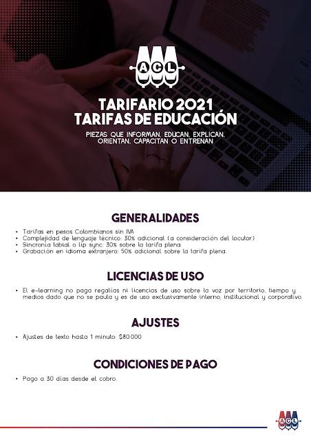 Tarifas de Locución en Colombia para Educación 2021