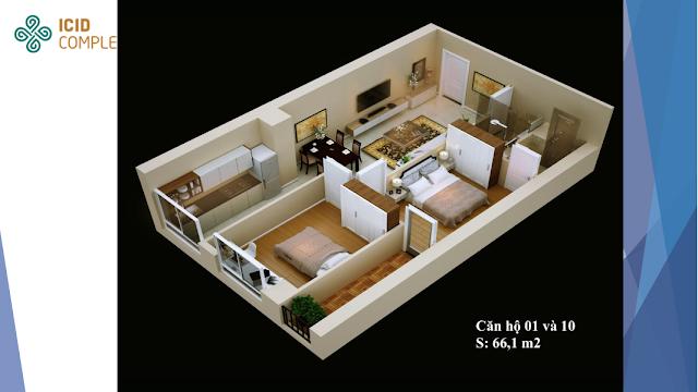 Thiết kế căn 01 - 10 diện tích 66,1m2 Icid Complex