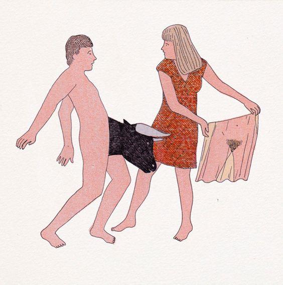 Mujer toreando a hombre, ilustración erótica