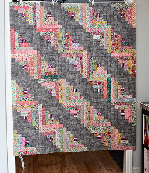 Liberty Log Cabin Quilt designed by Audrie of Blue is Bleu