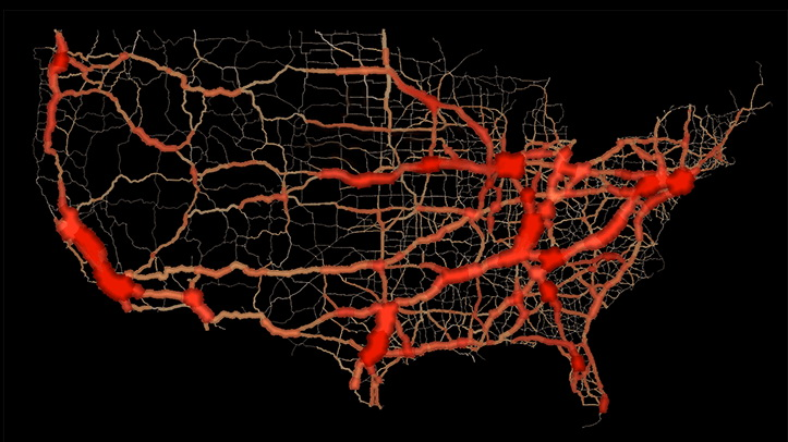The flow of traffic through US highways