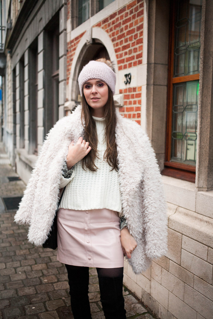 Outfit: winter pastels and thigh high boots
