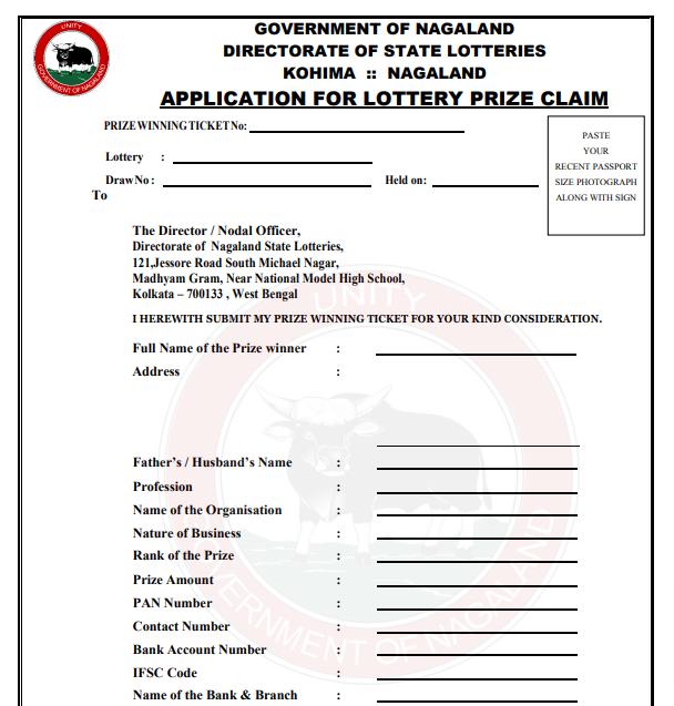 Nagaland lottery prize claim form