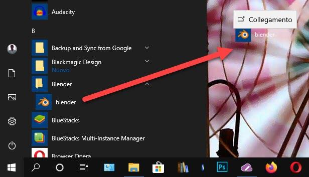 creare un collegamento di blender nel desktop