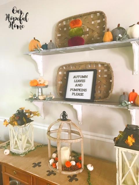 farmhouse floating shelf tobacco basket letter board pumpkins