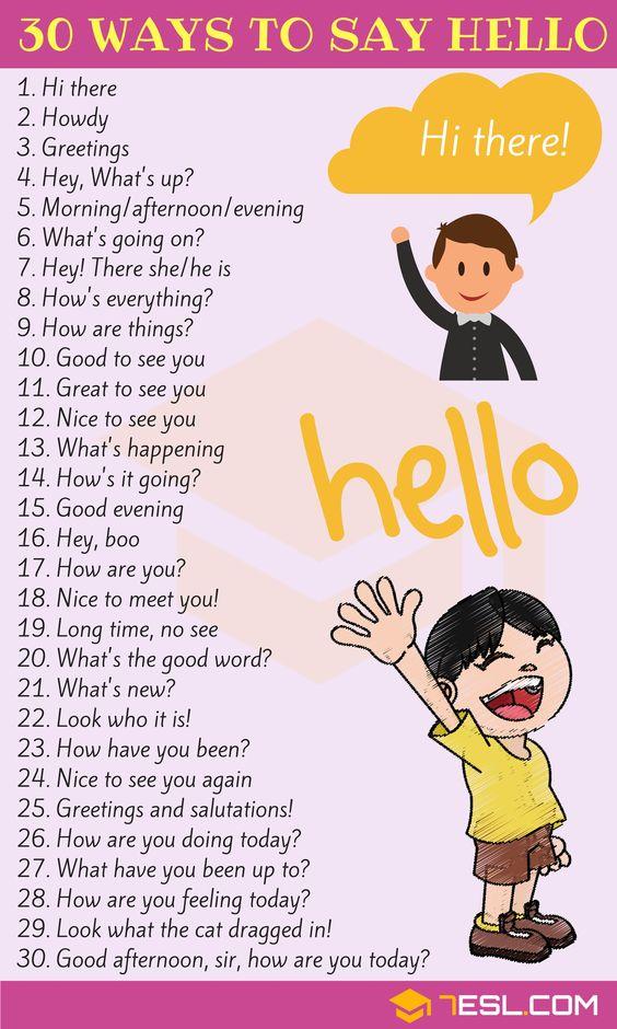 30 طريقة لتقول مرحبا باللغة الإنجليزية
