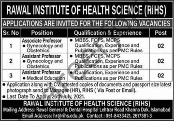 Rawal Institute of Health Science RIHS Jobs July 2021