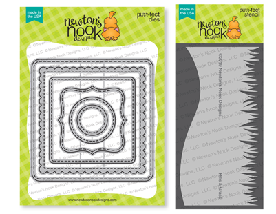 Frames Squared Die Set  and Hills & Grass Stencil Set by Newton's Nook Designs