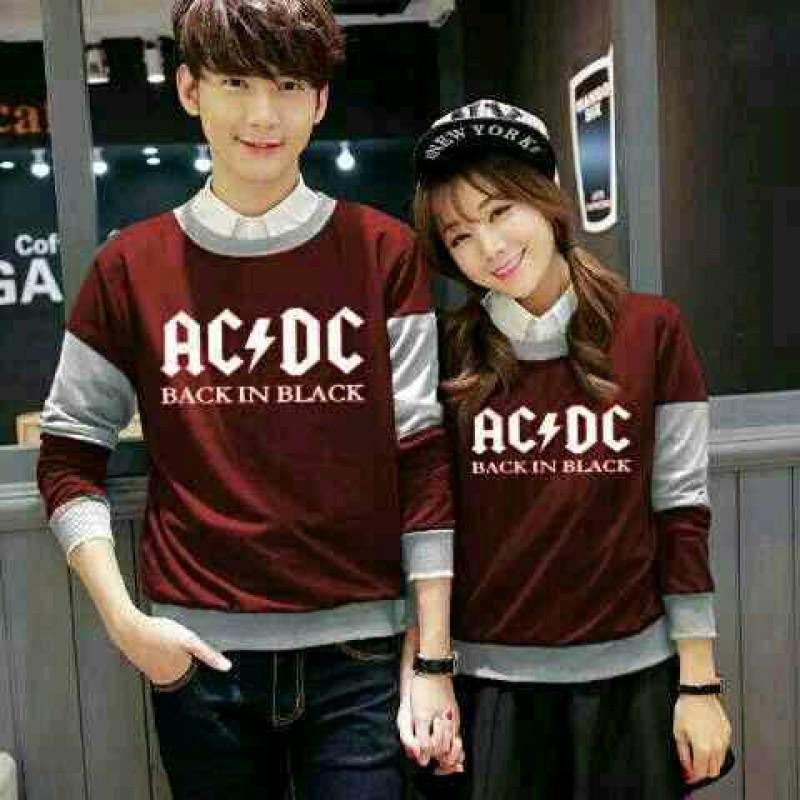 Jual Online Sweater ACDC Maroon Misty Couple Murah Jakarta Bahan Babytery Terbaru