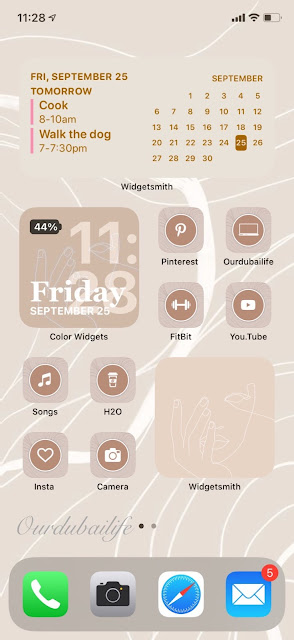 iOS14  aesthetic homescreen widget layout
