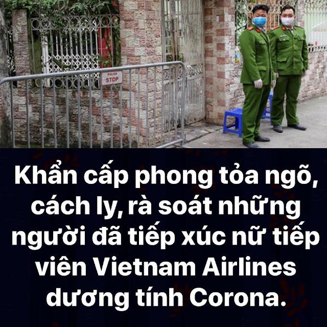 Phong tỏa ngõ, cách ly, ròa sát những người tiếp xúc với nữ tiếp viên Vietnam Airlines