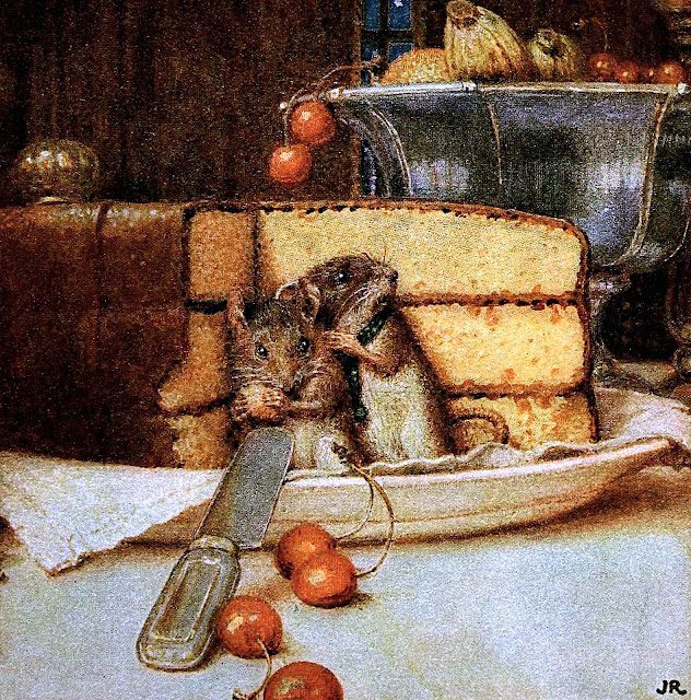 a John Rae children's book illustration 1925, two mice sneaking some cake