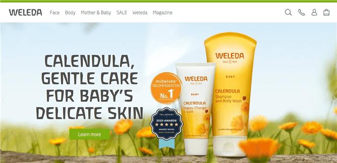 Weleda の赤ちゃん用スキンケアシリーズの画像写真