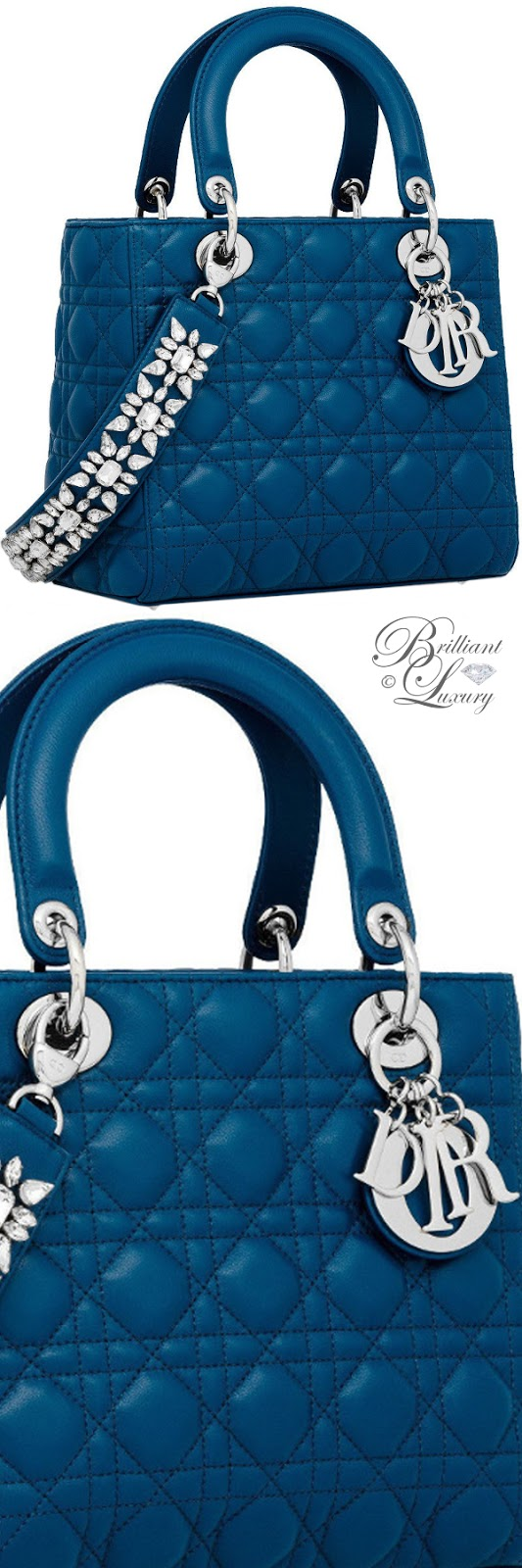 Brilliant Luxury ♦ Lady Dior bag in Poseidon Blue lambskin
