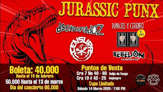 Festival JURASSIC PUNX en Bogotá 2020