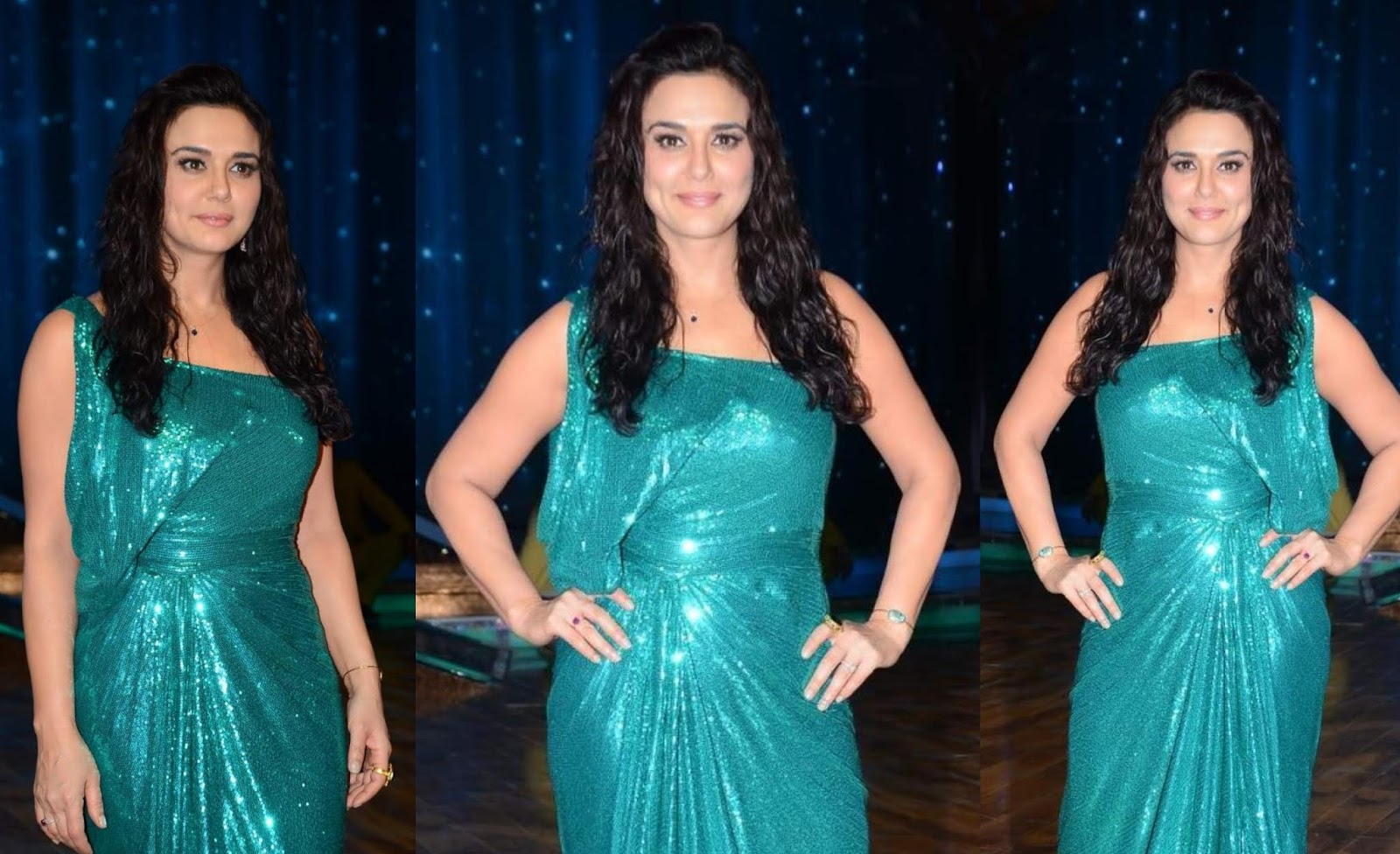 Beautiful Indian Model Preity Zinta Long Hair Photos In Green Dress