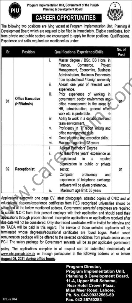 Program Implementation Unit PIU Punjab Jobs July 2021
