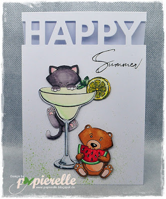 Happy Summer by Papierelle features Woodland Picnic and Newton's Birdbath by Newton's Nook Designs; #inkypaws, #newtonsnook, #cardmaking
