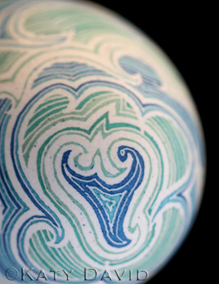 "©Katy David ""High Seas"" Etched and dyed goose eggshell"