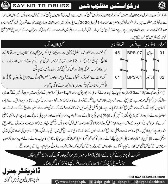 Jobs in Office Of Directorate General Levies Force Balochistan 2020