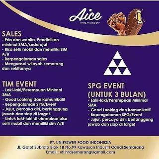 Info Lowongan Kerja Sales SPG Aice PT. Unipower Food Semarang
