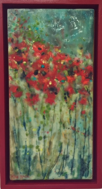 wax, painting, encaustic, poppies, red