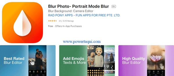 """3. تطبيق """"Blur Photo- Portrait Mode Blur"""""""