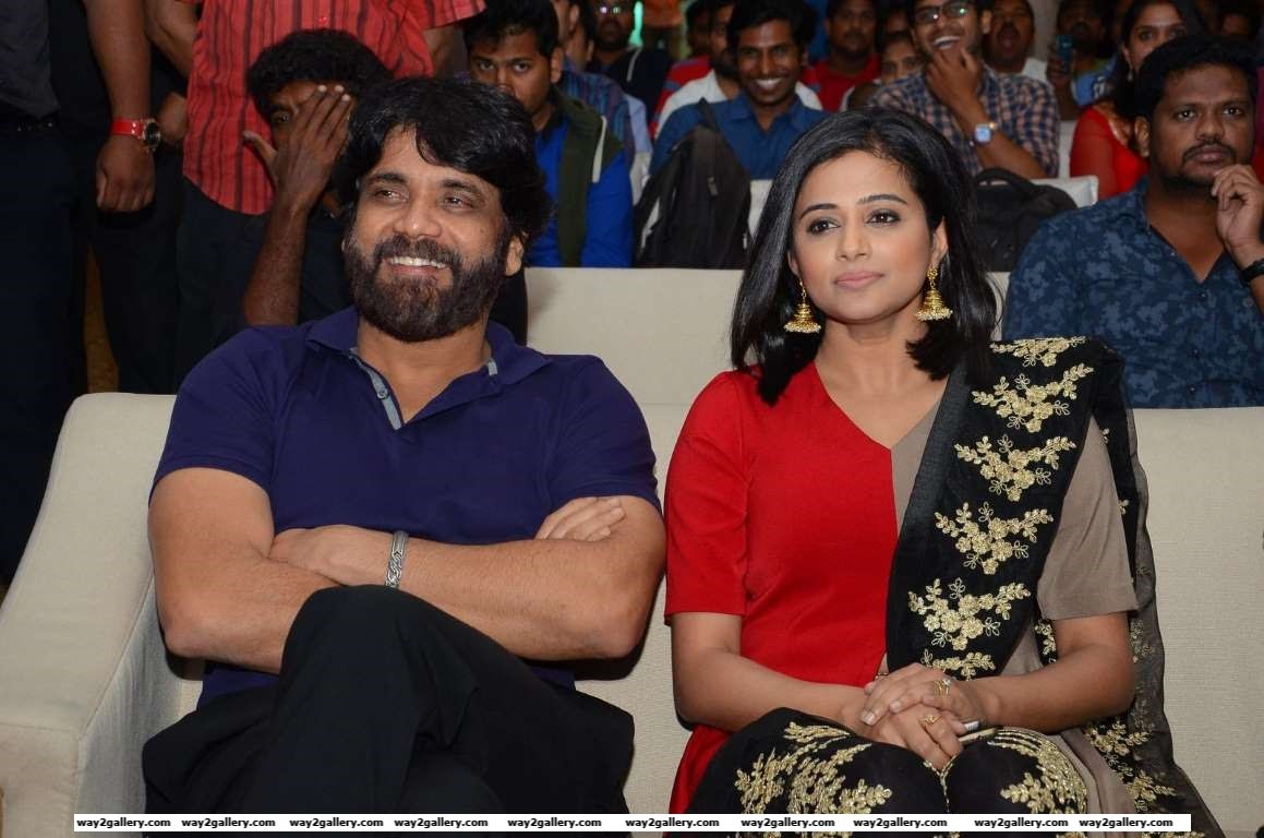 Nagarjuna and Priyamani take in the proceedings during the audio launch of Telugu film Mana Oori Ramayanam