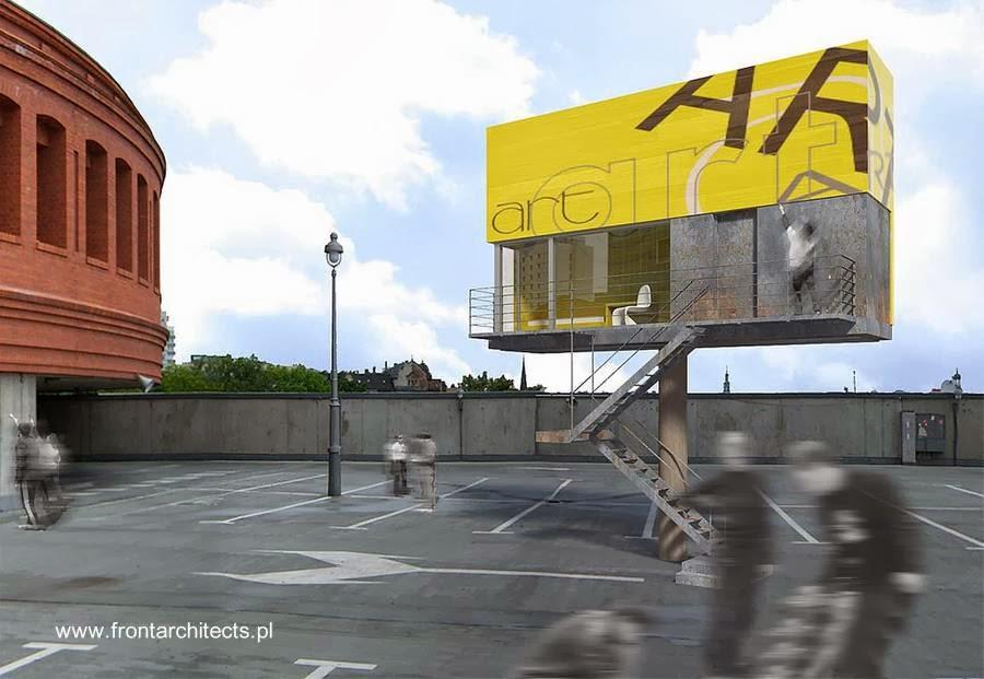 Renderizado de un concepto de casa compacta futurista en Polonia