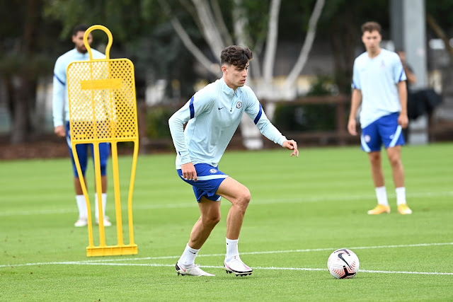 Kai Havertz in training for his new club Chelsea as they prepare for the Premier League 2020/21 season opener against Brighton