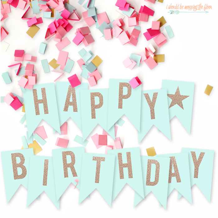 picture about Printable Happy Birthday Banner named Totally free Printable Pleased Birthday Banner i ought to be mopping