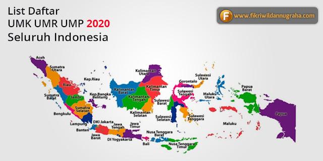 Daftar UMR UMK UMP Tahun 2020 Seluruh Indonesia update terbaru kenaikan gaji upah karyawan lengkap karawang tertinggi banjar terendah jabodetabek jabar jatim jateng