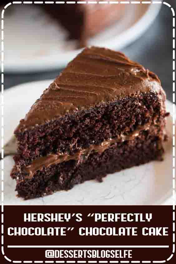 "Hershey's ""perfectly chocolate"" chocolate cake with 5 ingredient chocolate frosting is our favorite homemade chocolate cake recipe. Hershey's ""perfectly chocolate"" Chocolate Cake with 5 ingredient chocolate frosting is our favorite homemade chocolate cake recipe! Extra moist, with a perfect rich chocolate flavor and tender, smooth crumb.#DessertsBlogSelfe #BirthdayDesserts #chocolate #peanutbutter"