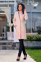 Palton dama elegant crem roz (MBG)
