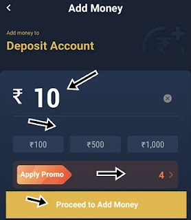 cash deposit ke liye amount enter kar proceed to add money par click kare