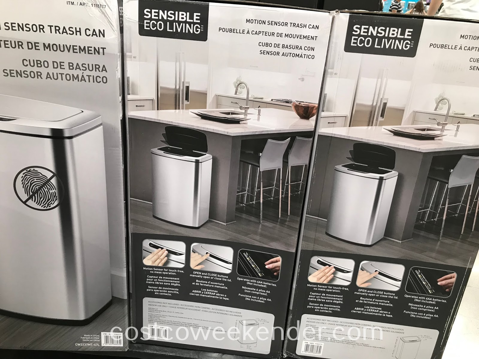 Costco 1193777 - Eko 47L Motion Sensor Trash Can: great for any kitchen