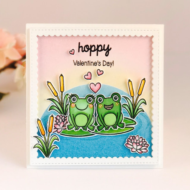 Sunny Studio Stamps: Froggy Friends Hoppy Valentine's Day card by Amy Yang.