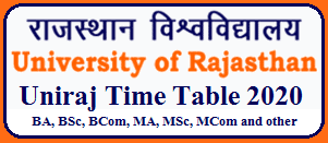 Rajasthan university Time Table|| UG and PG Exam 2020 time table|| download here