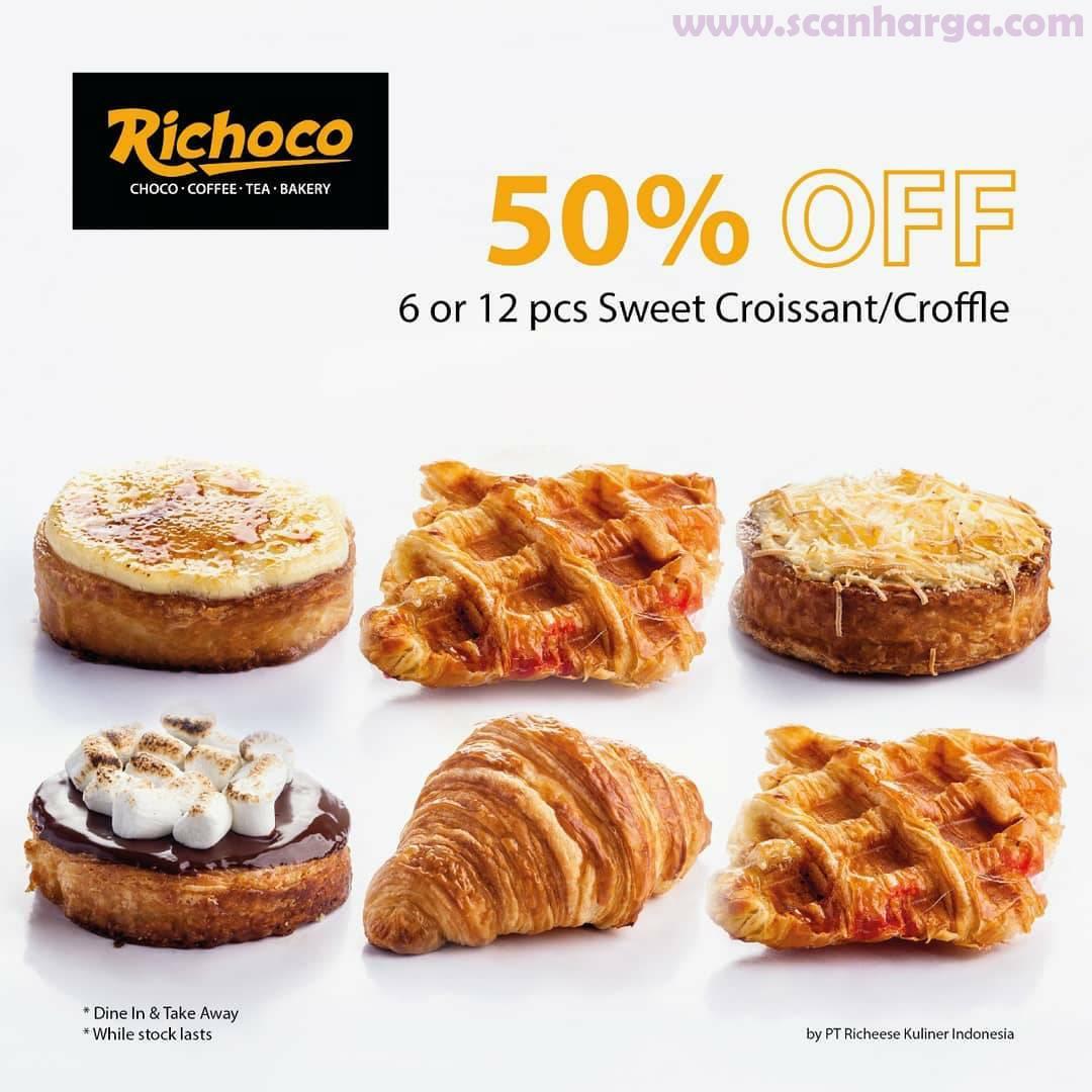 Promo RICHOCO Diskon 50% Untuk Menu 6 atau 12 pcs Cookies & Sweet Croissant/Croffle