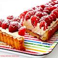 Wyjątkowo smaczna tarta z malinami. Kruche ciasto Aarona